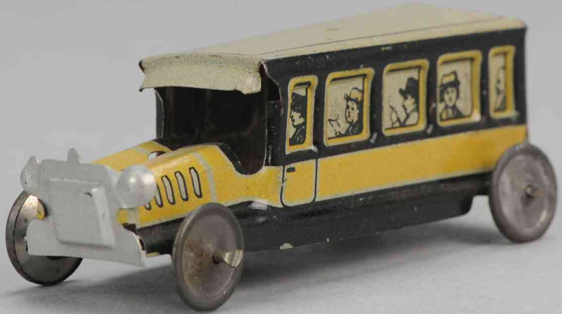 levy george gely 114 penny toy reisebus gelb schwarz pasagiere in fenstern