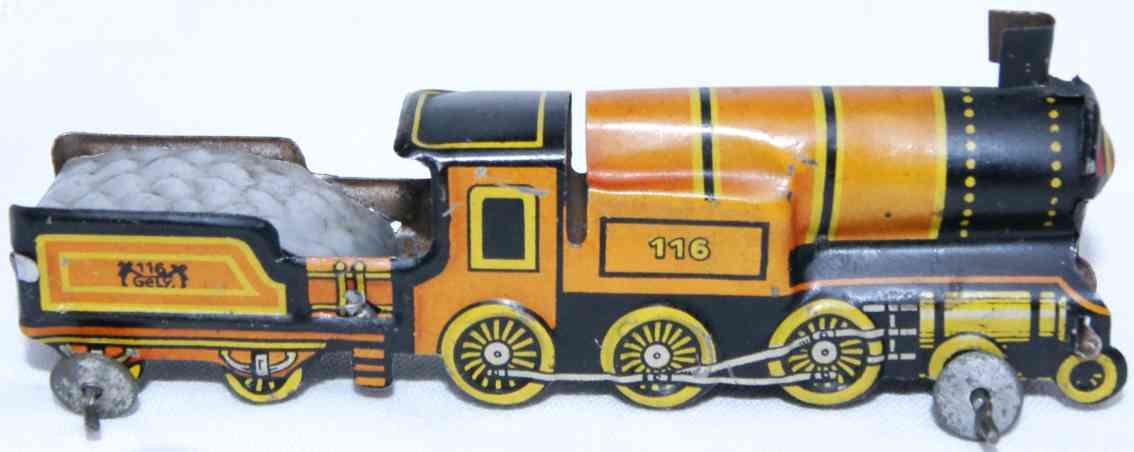 levy george gely 116 penny toy lokomotive tender rot gelb schwarz