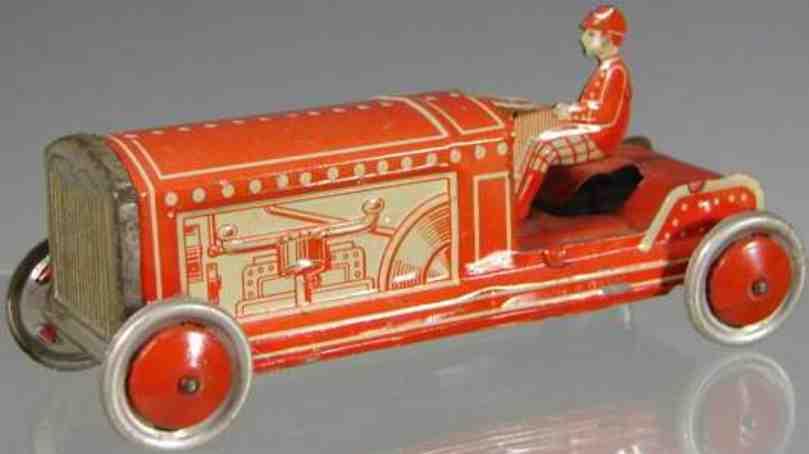 levy george gely penny toy rennwagen in rot mit scheibenräder