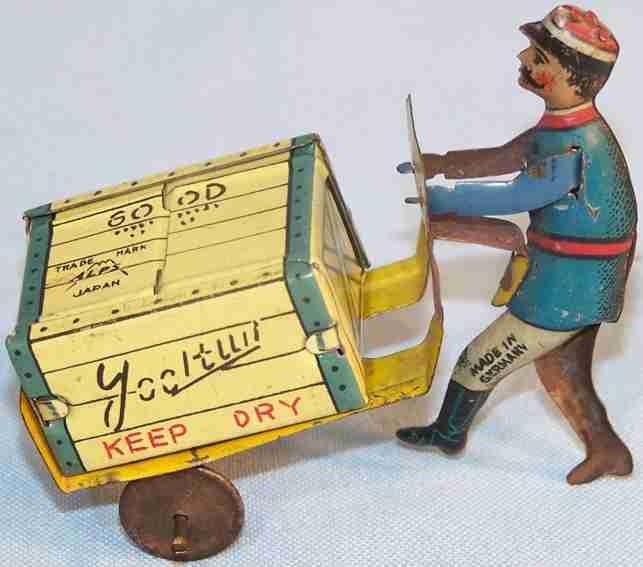 levy george gely penny toy dienstmann mit gepäckwagen, blau-gelb lithografiert