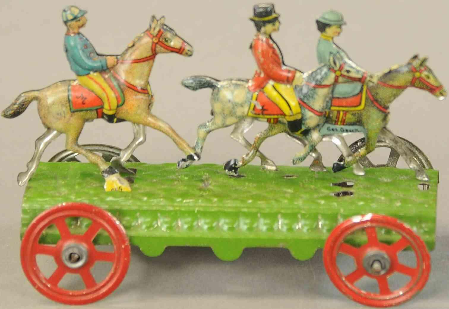 meier blech penny toy drei reiter gruene plattform raeder