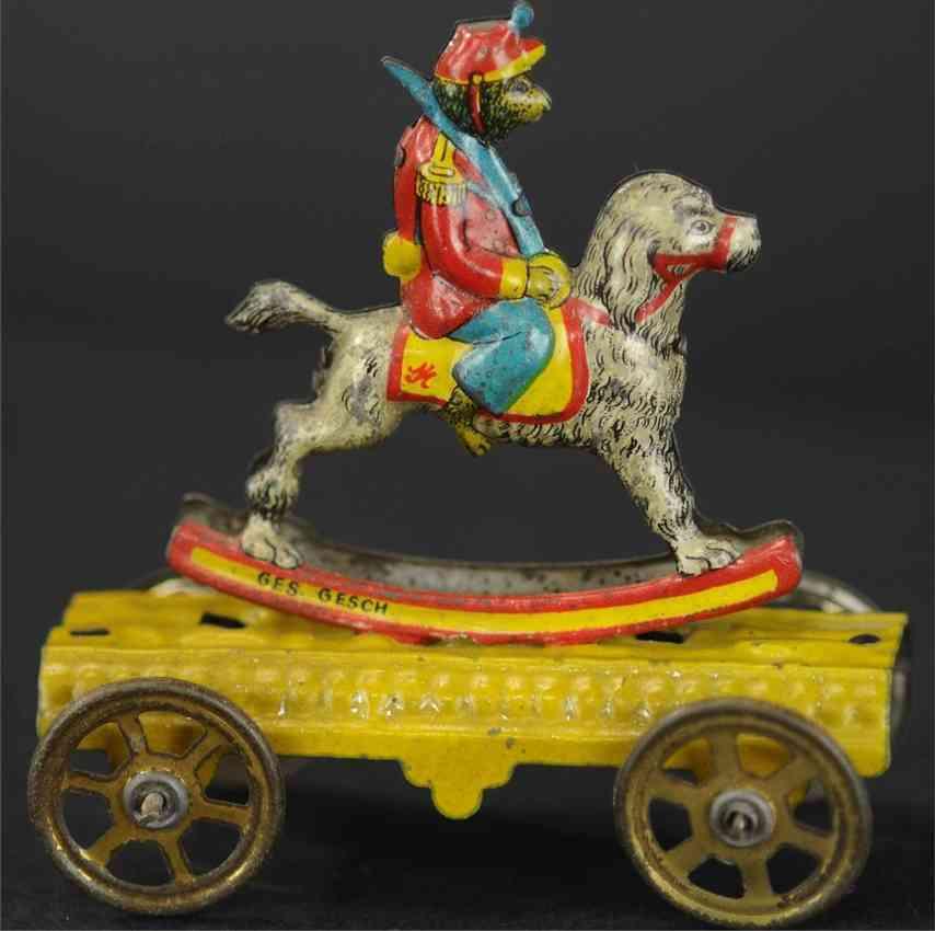 meier penny toy monkey riding dog tin yellow platform