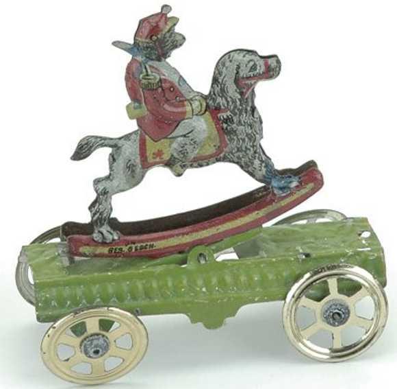 meier penny toy monkey riding dog tin green platform