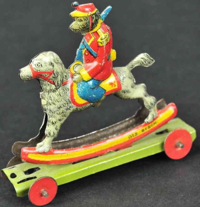 meier penny toy affe reitet auf einem hund ohne gelenke