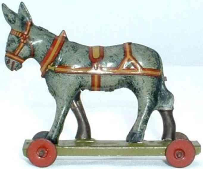 meier penny toy donkey on a wheeled platform