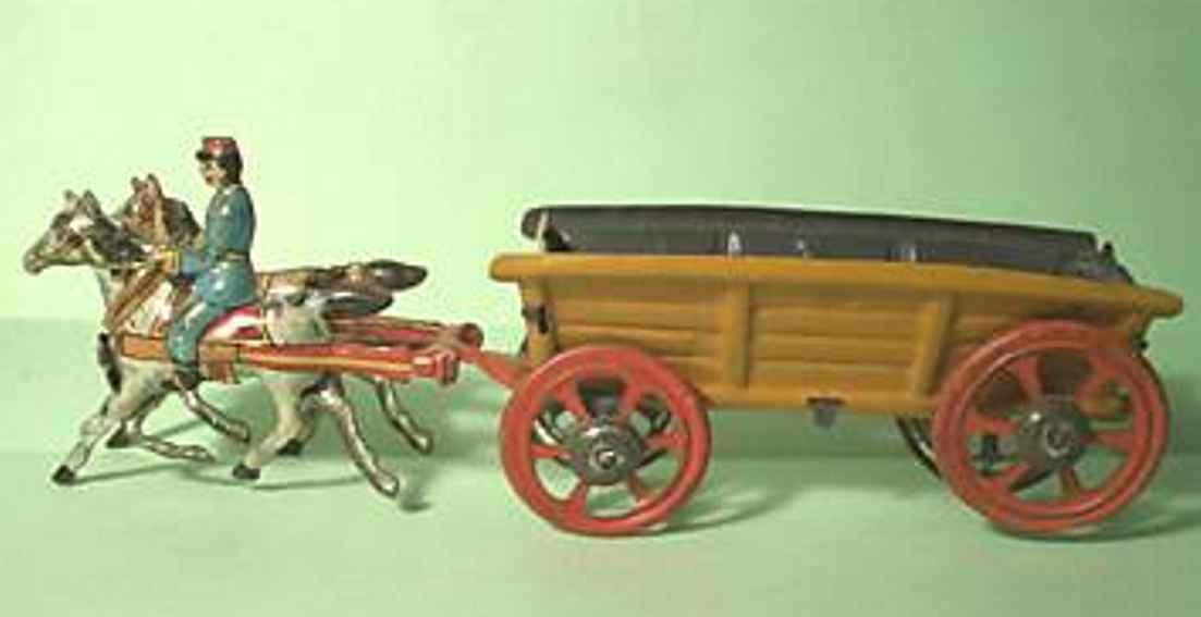 Meier Penny Toy Kutsche mit 2 Pferden und einem Reiter als Einspänner