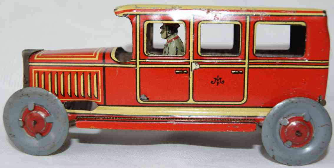 meier penny toy sedan limousine red yellow driver
