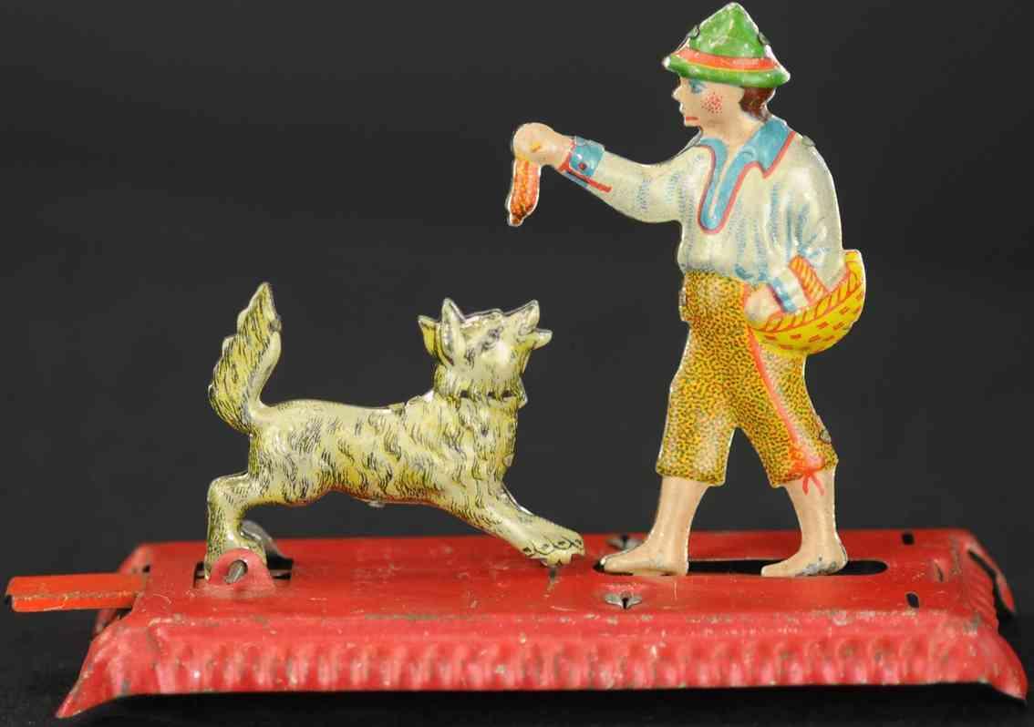 meier penny toy man feeding dog  tin red platform