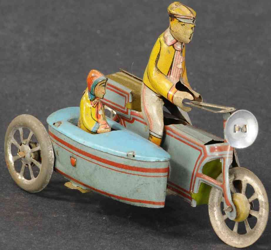 meier penny toy motorcycle with side car civilian driver girl