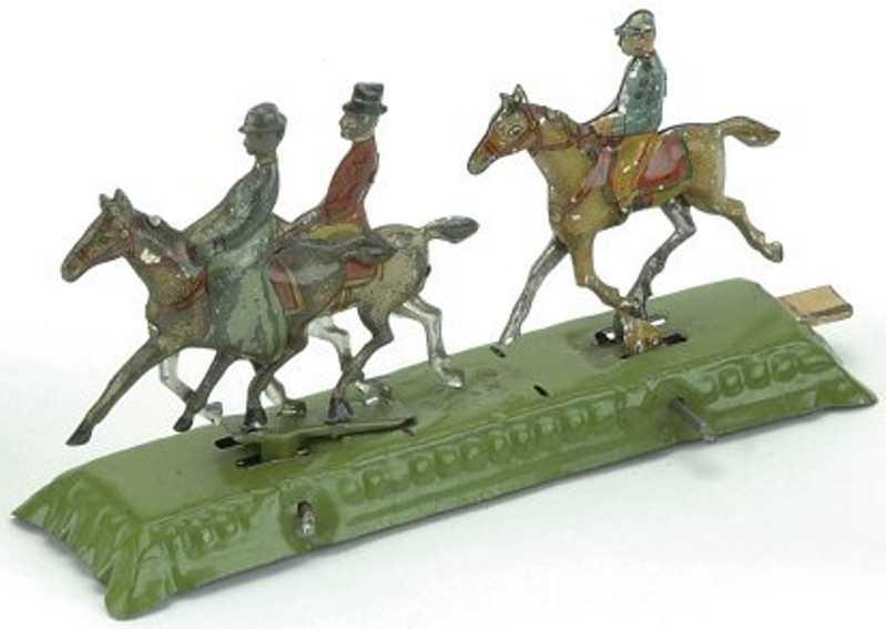 meier blech penny toy drei reiter auf gruener plattform