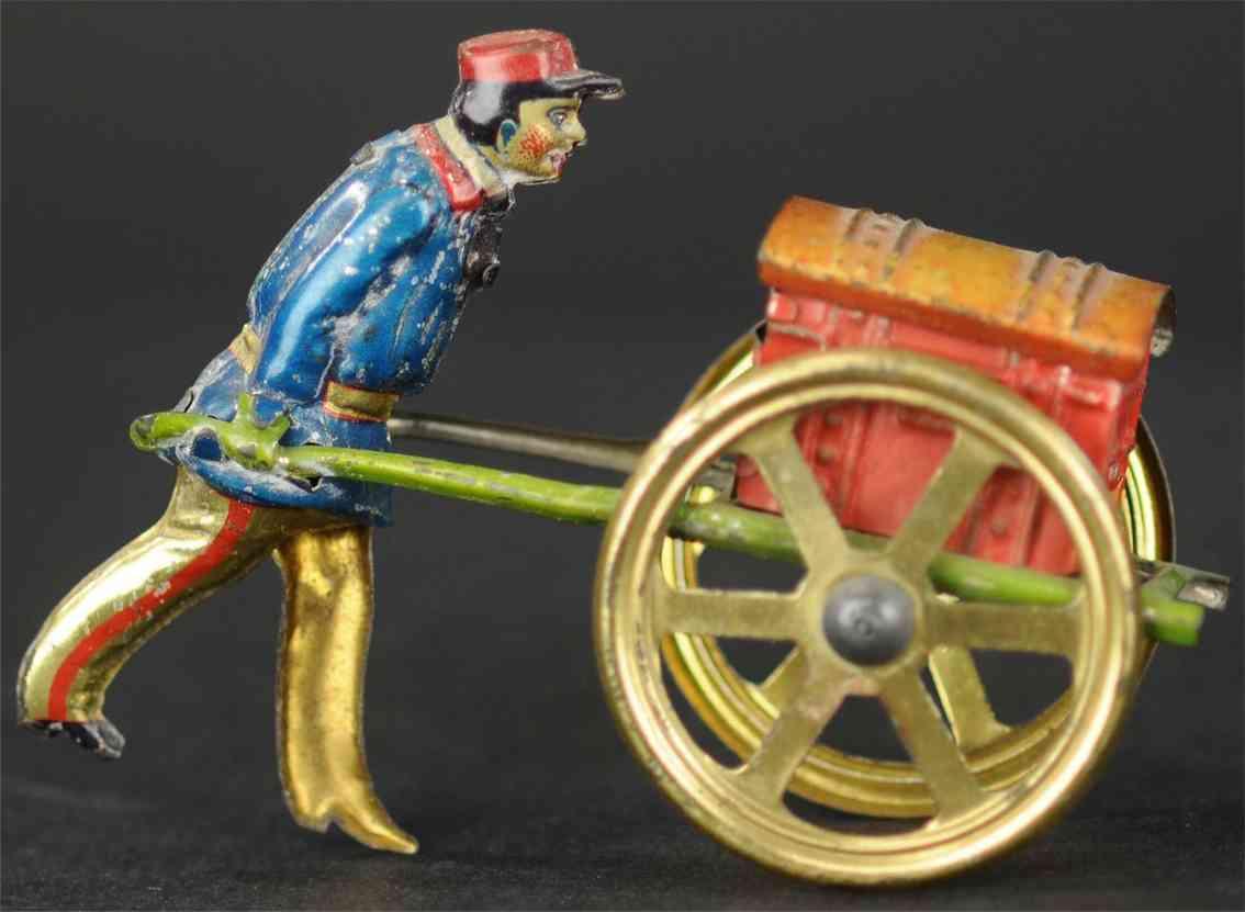 meier penny toy soldat schiebt roten koffer  goldene speichenraeder