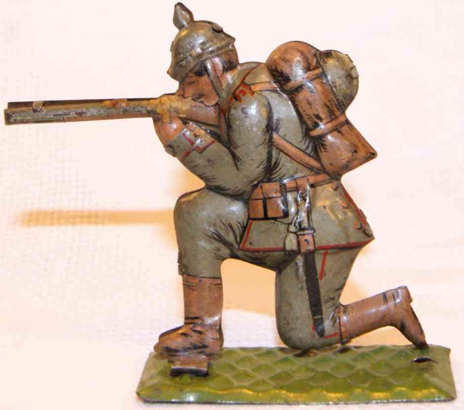 meier toy soldat kniend schiessend feldgraue unifom