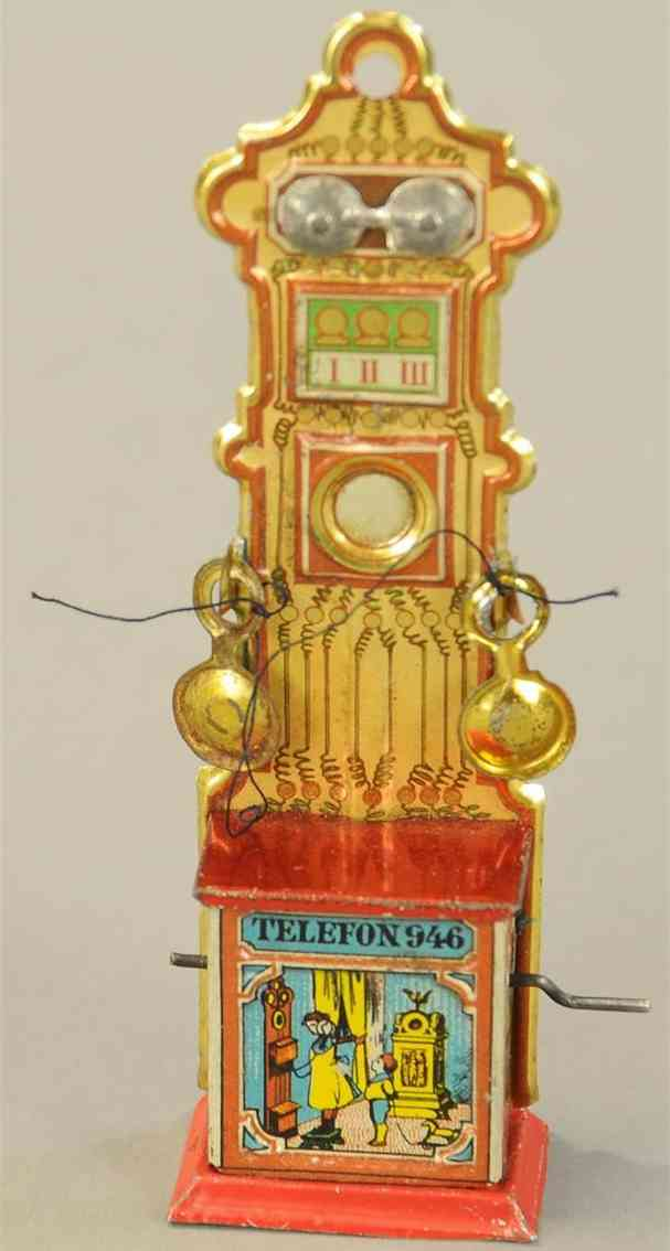 meier 946 penny toy telephone #946 embossed lithographed tin with crank operate