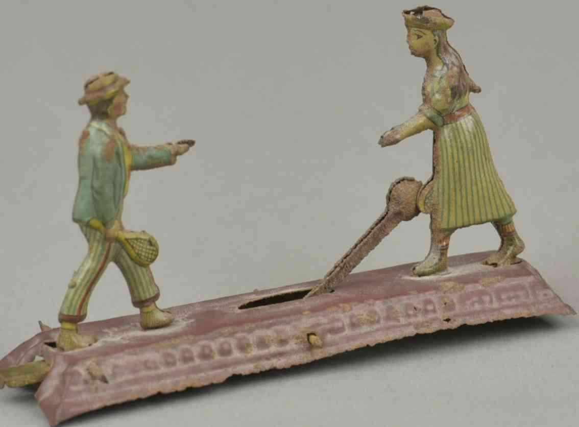 meier penny toy zwei tennisspieler auf plattform mann und frau