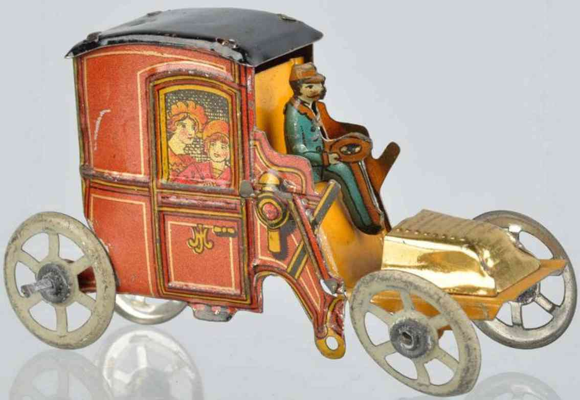 meier penny toy tin litho automobile gold wash bonnet hood