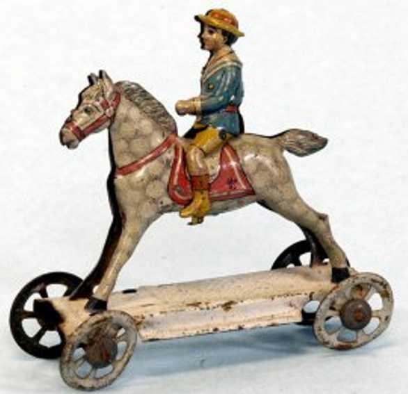meier penny toy junge auf grauem pferd plattform raeder