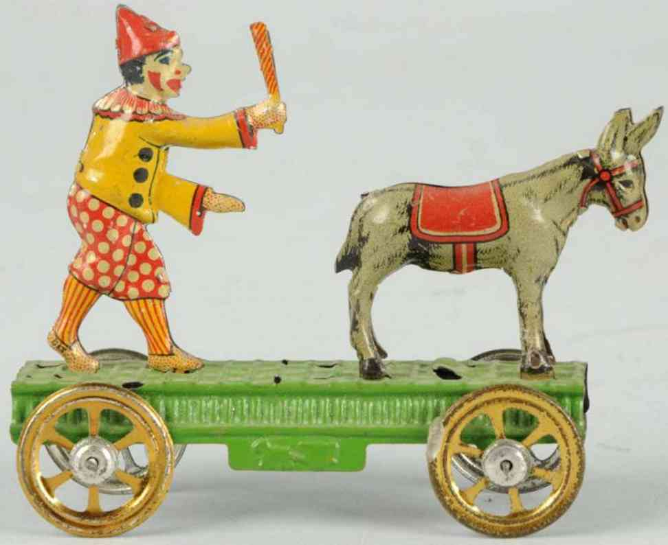 meier penny toy tin donkey clown wheeled platform