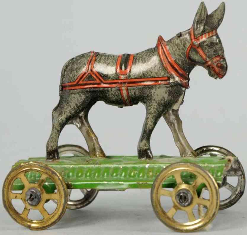 penny toy meier tin donkey green platform wheels