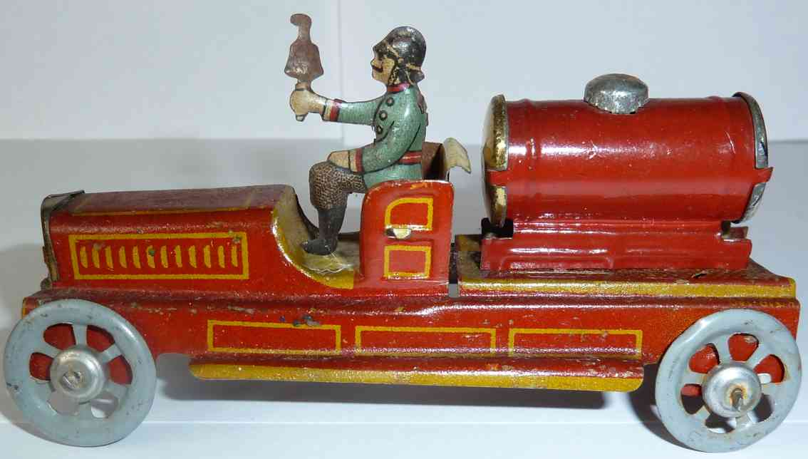 meier penny toy fire brigade tank car with firefighter and bell