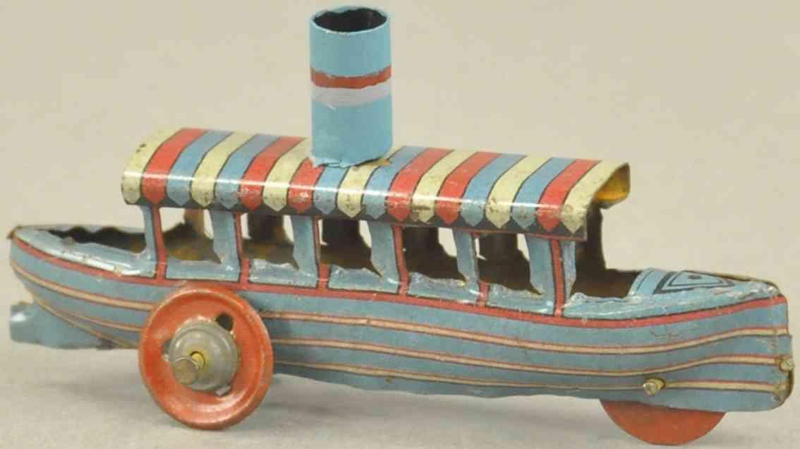 meier Schiff Fluss 7,6 penny toy flussboot aus lithografiertem blech, mehrfach gestreifter ba