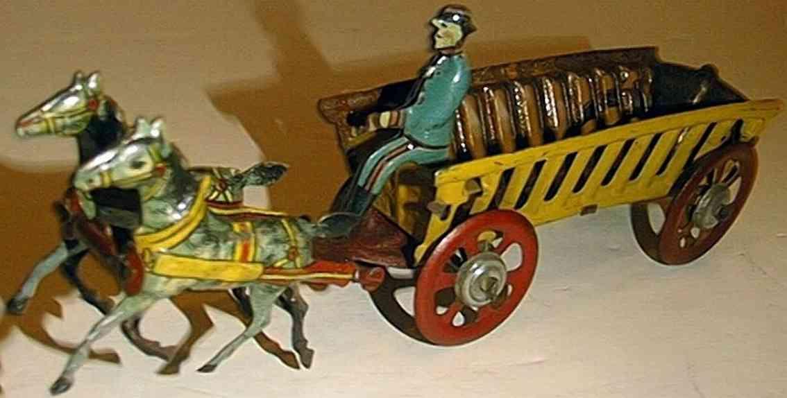 penny toy meier heuwagen mit zwei pferden und fahrer