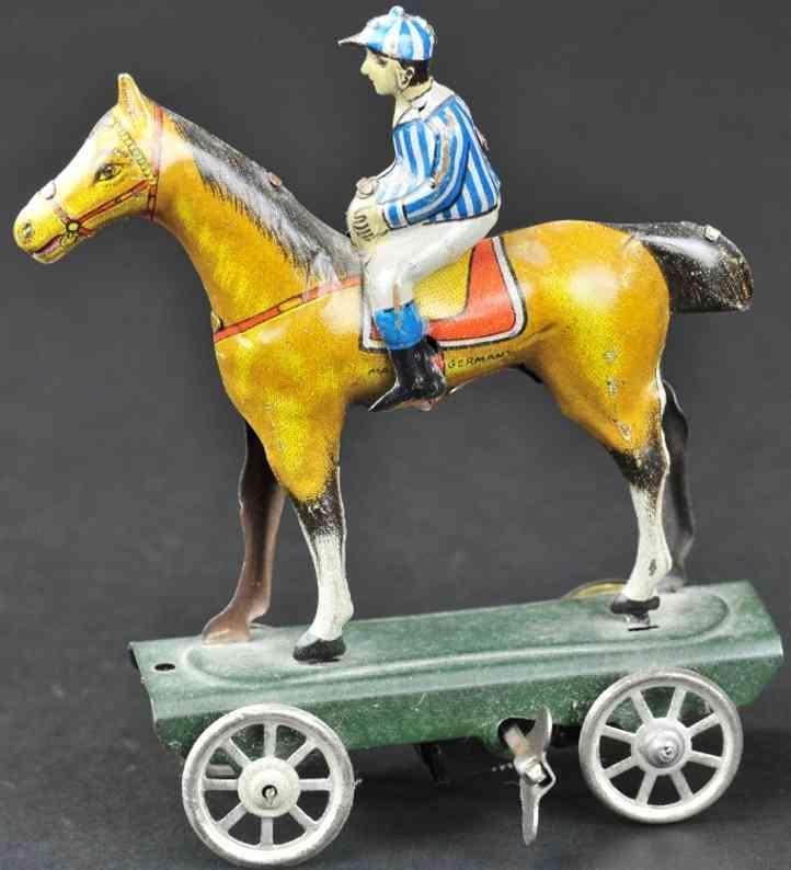 meier blech penny toy jockey auf pferd plattform uhrwerk