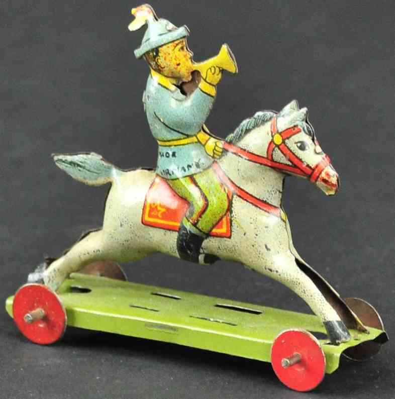 meier blech penny toy junge auf pferd mit trompete