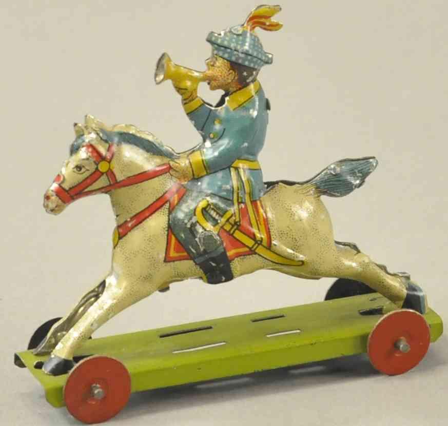 meier penny toy junge reitet auf pferd plattform trompete