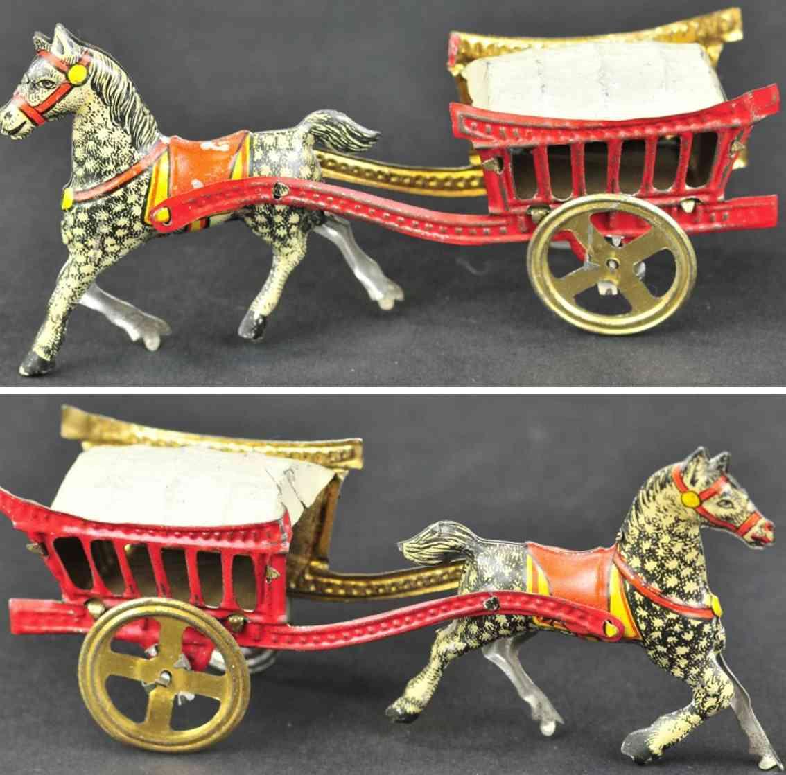 meier blech penny toy bedeckte rote karre ein pferd