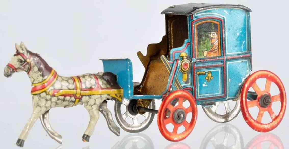 Meier Penny Toy Kutsche in blau mit Pferd aus lithografiertem Blech