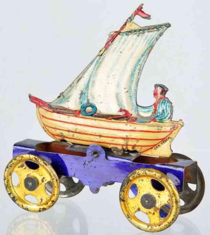 meier penny toy segelboot  blech blaue plattform