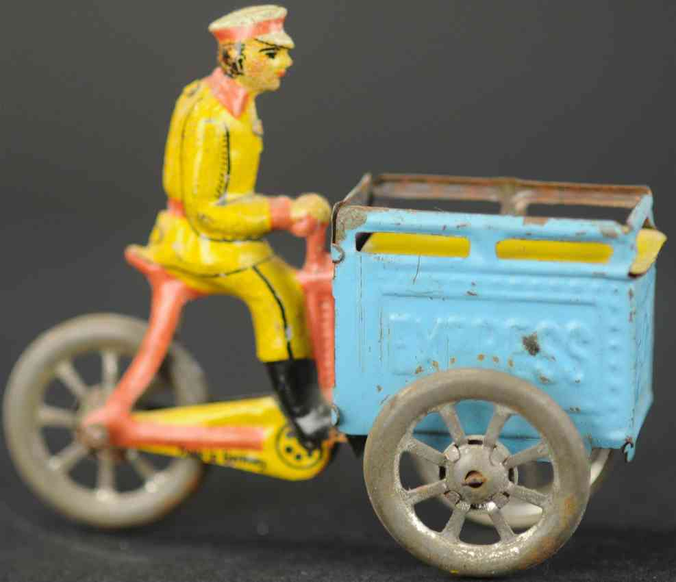 meier triporteuer penny toy triporteur man on tricycle with light blue container