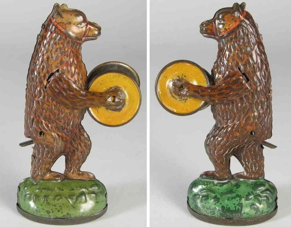 nitschmann heinrich tin penny toy performing bear andy container cymbal