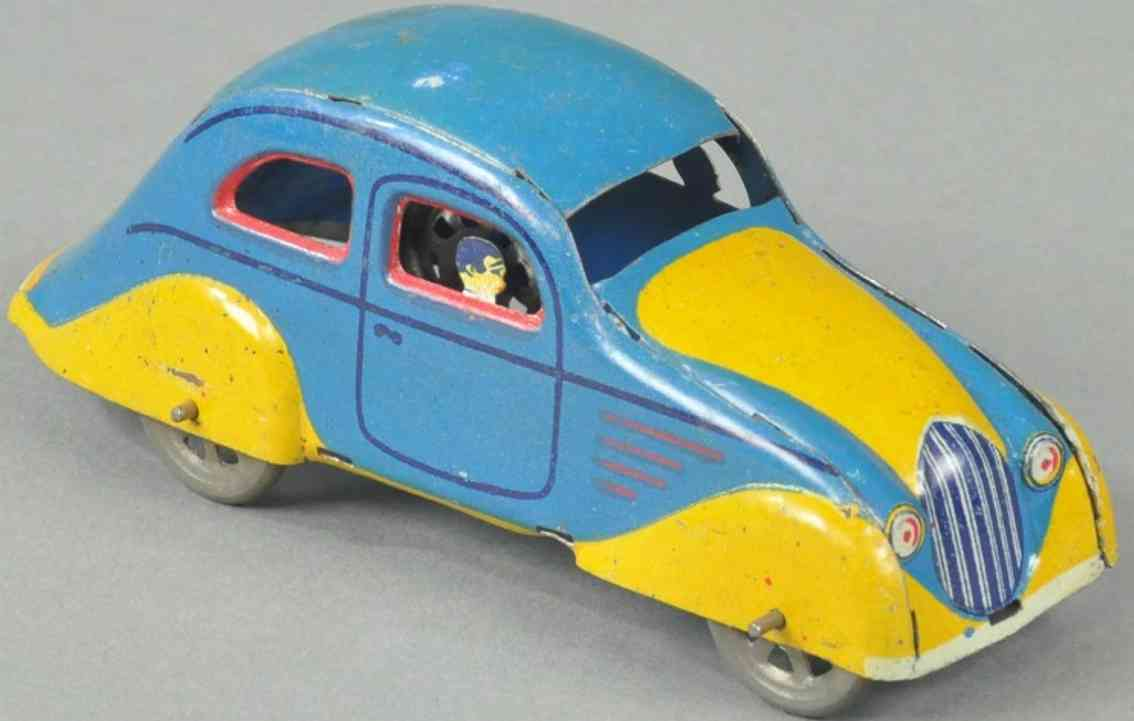 paya Coupe 12 penny toy coupe gestanzte figur blau gelb