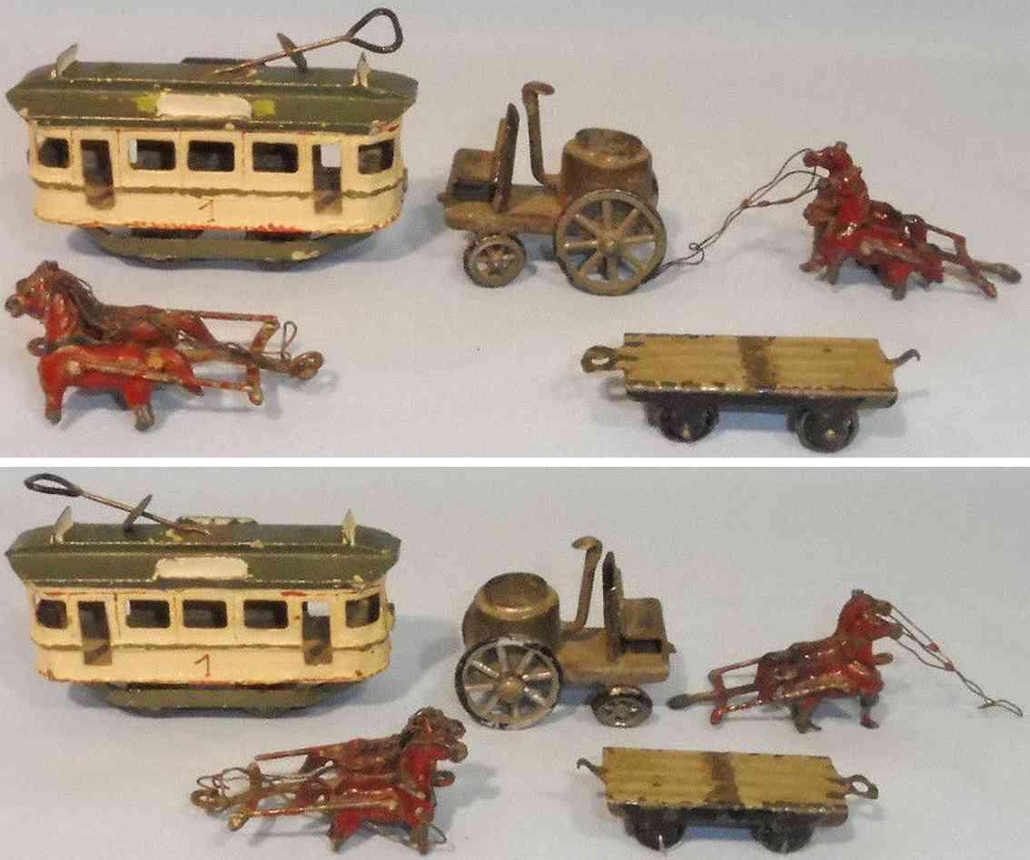 plank ernst penny toy  strassenbahn dampfmaschine wagon kutschen