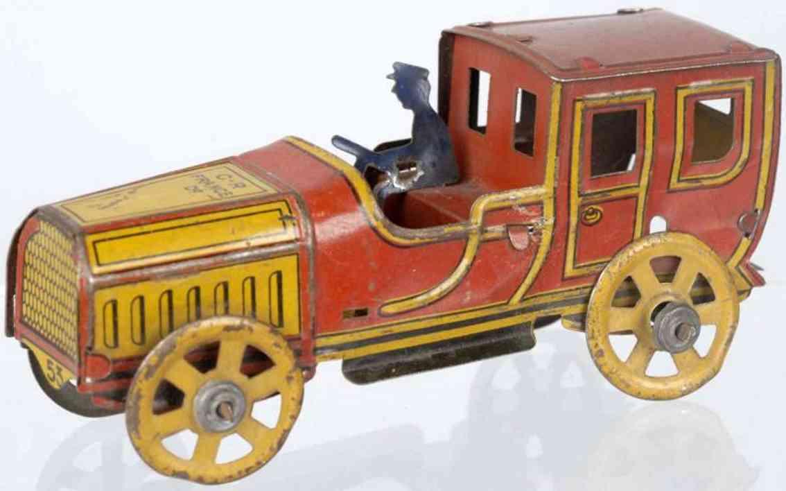 rossignol 53 penny toy limousine aus blech in kastanienbraun und gelb