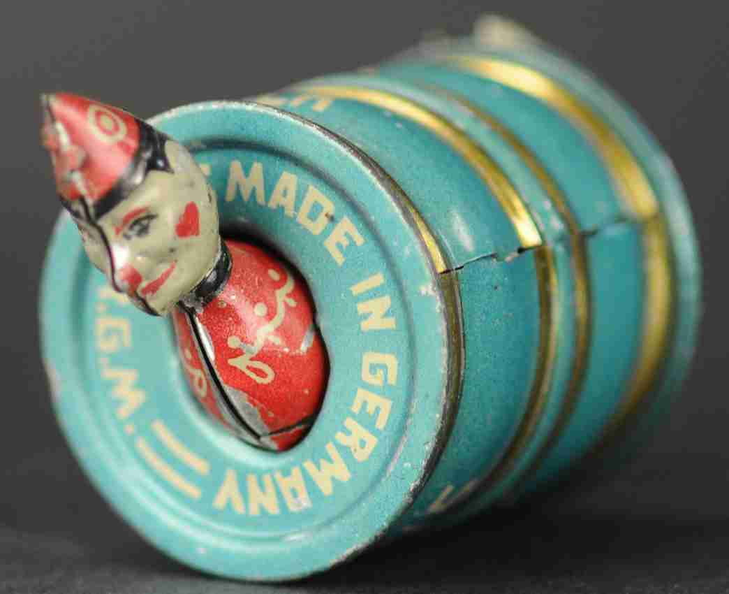 stock walter 150 tin penny toy clown in barrel medium blue gold white