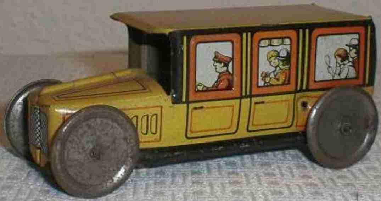 technofix 181/2 penny toy taxi ohne uhrwerk als schiebemodell gelb
