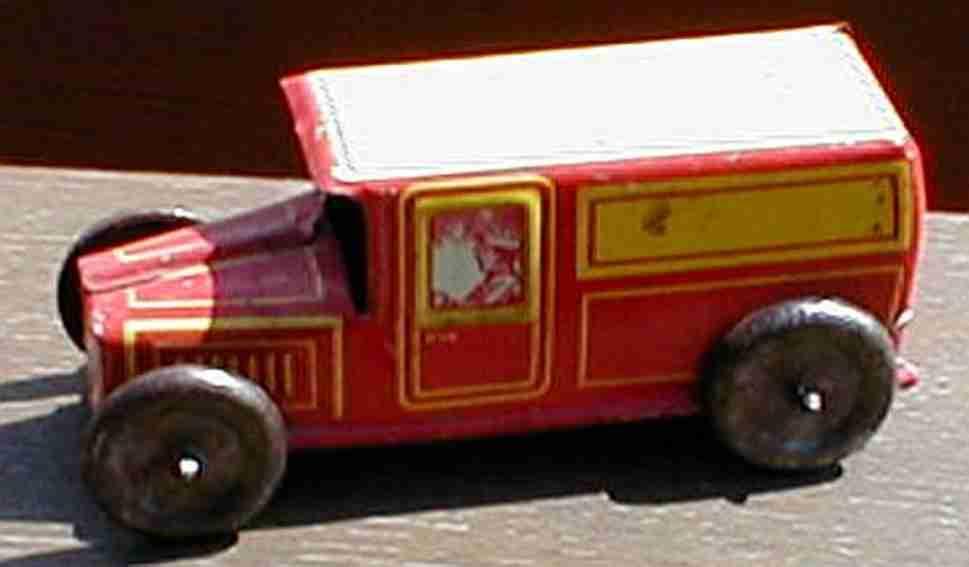 technofix 183/1 penny toy lieferwagen ohne uhrwerk in rot