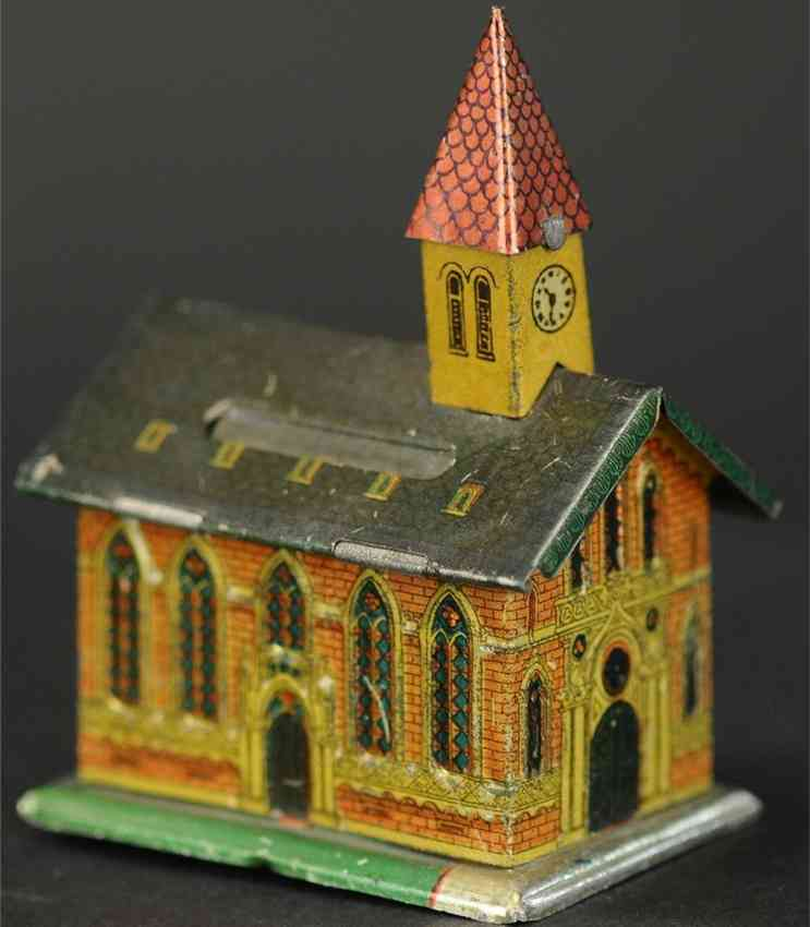penny toy church with steeple as bank
