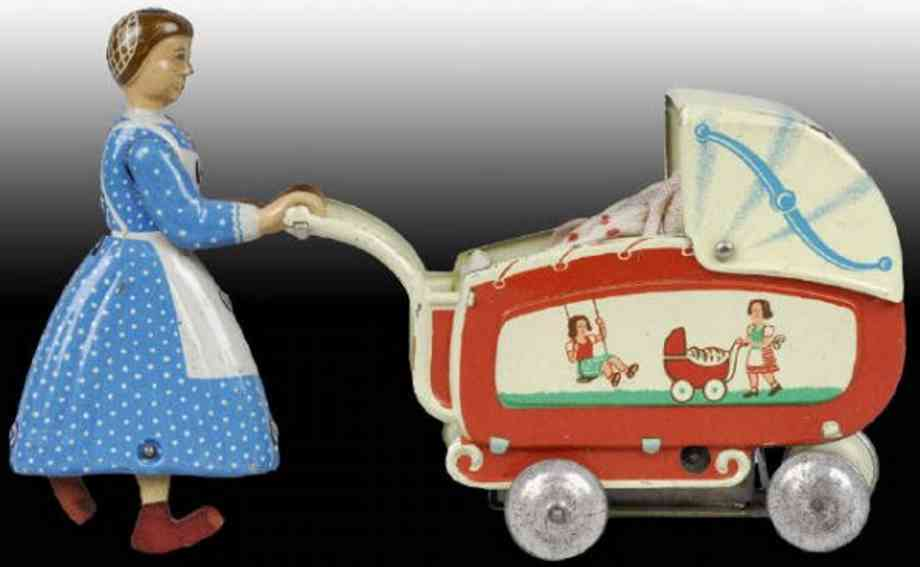 fritz voit  penny toy woman maid girl pushing doll carriage