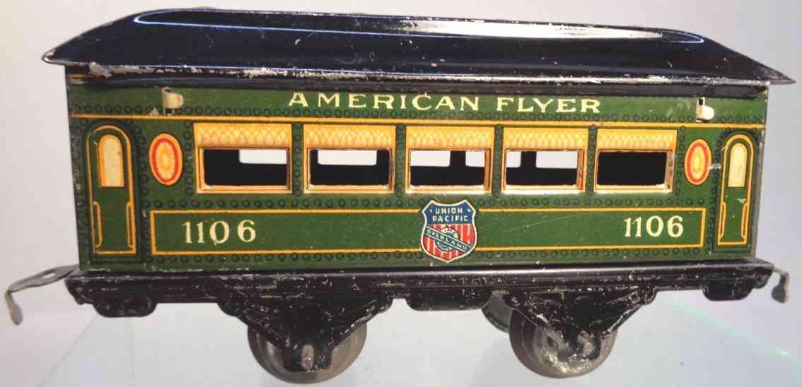 american flyer toy company 1106 union pacific pullman car green yellow black gauge 0