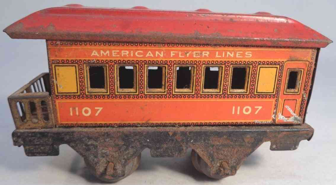 american flyer 1107 railway toy observation car orange red gauge 0