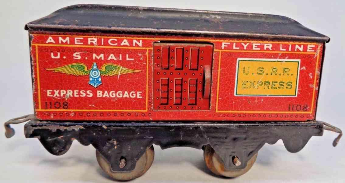 american flyer 1108 ussr railway toy mail car postwagen red teal gauge 0