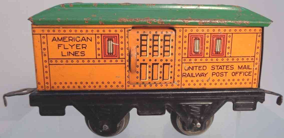 american flyer 1108 railway toy mail car postwagen orange green gauge 0