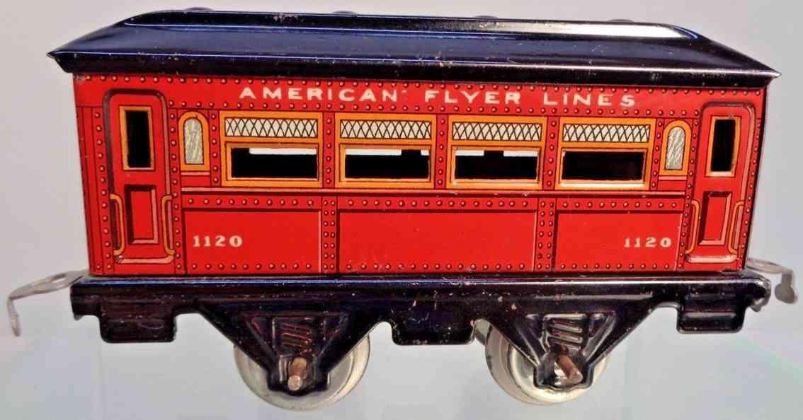 american flyer 1120 railway toy pullman car red black gauge 0