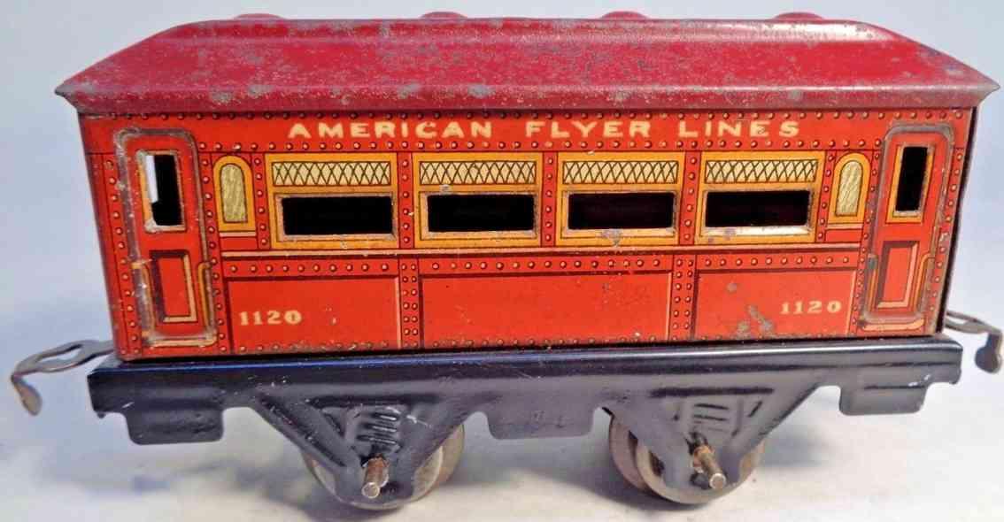 american flyer 1120 railway toy pullman car red maroon gauge 0