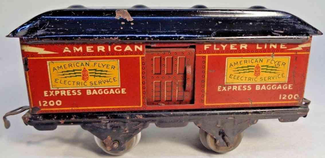 american flyer toy company 1200 railway toy baggage car  dark red gauge 0