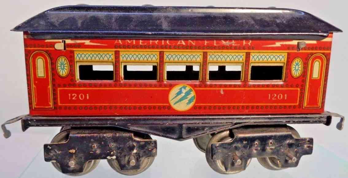 american flyer toy company 1201 railway toy  pullman car red gauge 0
