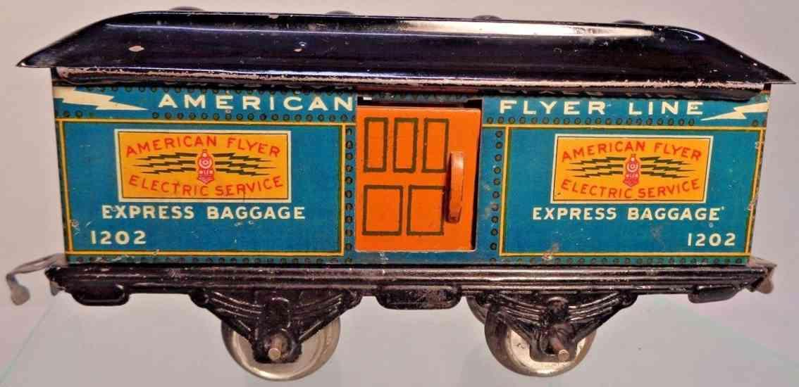 american flyer toy company 1202 railway toy baggage car blue black gauge 0